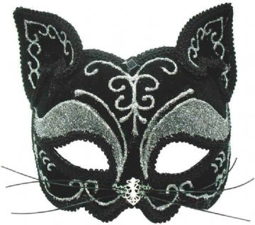 Black & Silver Cat mask on a headband or ribbons